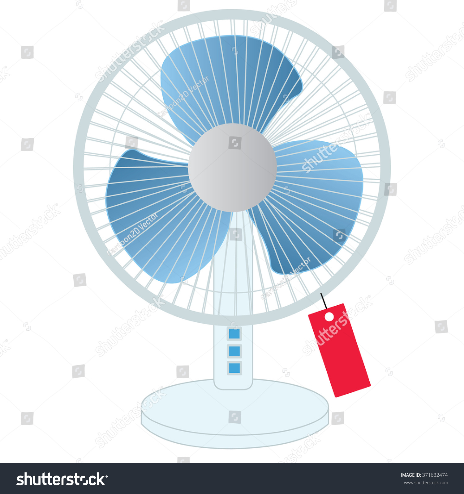 Blue Table Fan Vector Stock Royalty Free 371632474 Diagram All Picture