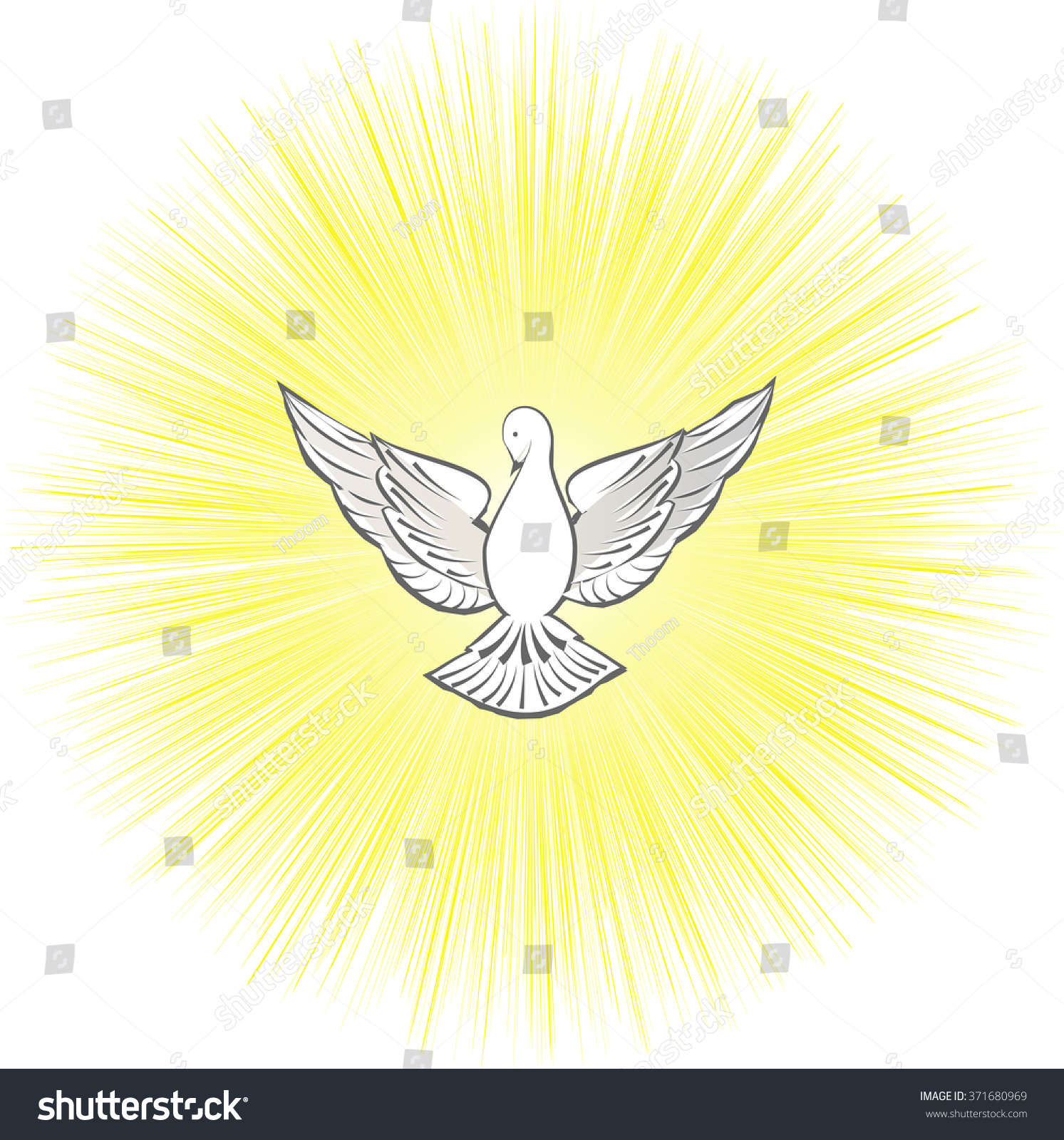 Holy Spirit symbol dove with halo and rays of light and fire, symbols ...