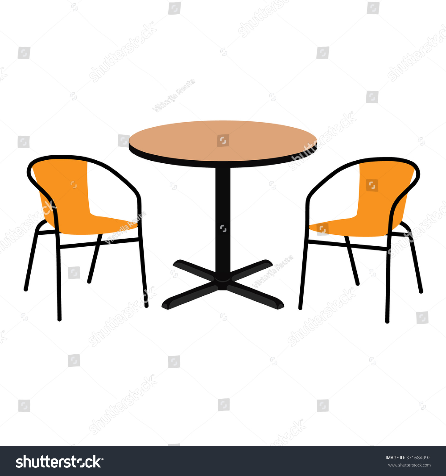 Vector illustration wooden outdoor table two stock vector for Table chair images