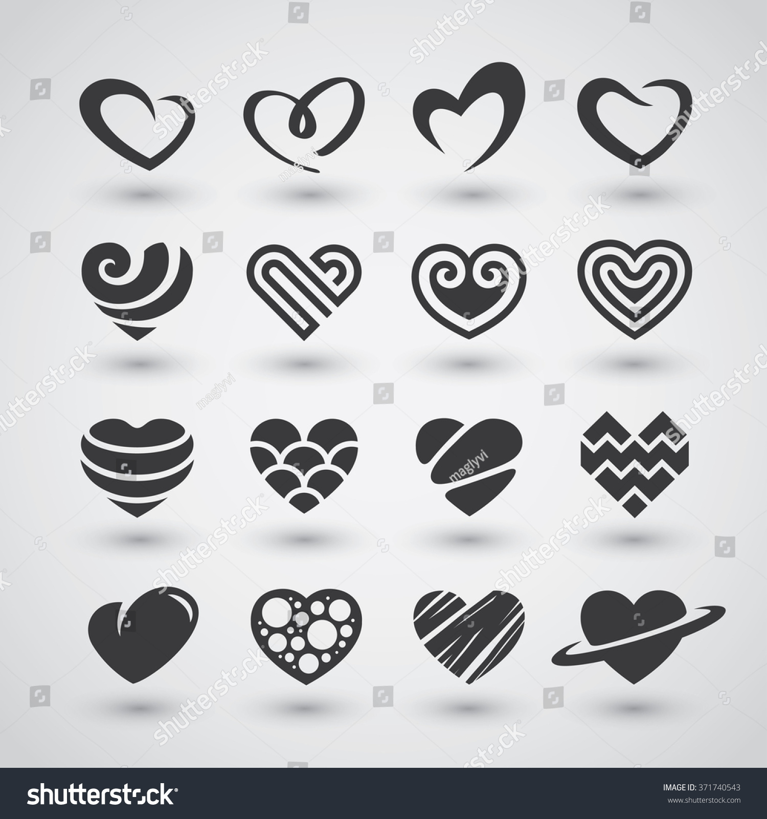 Set Black Heart Icons Logos Signs Stock Vector Royalty Free
