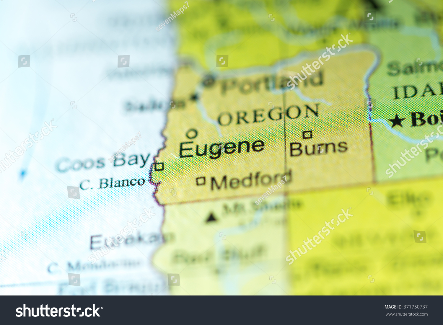 Closeup Eugene Oregon On Political Map Stock Photo (Edit Now ... on