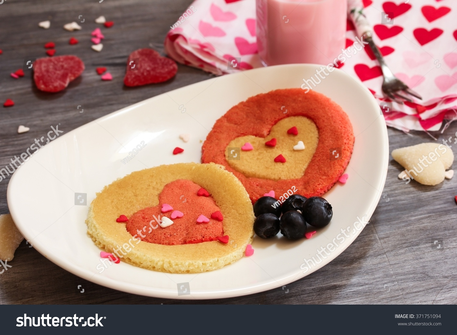 Two Heart Pancakes   Valentines Day Breakfast Concept