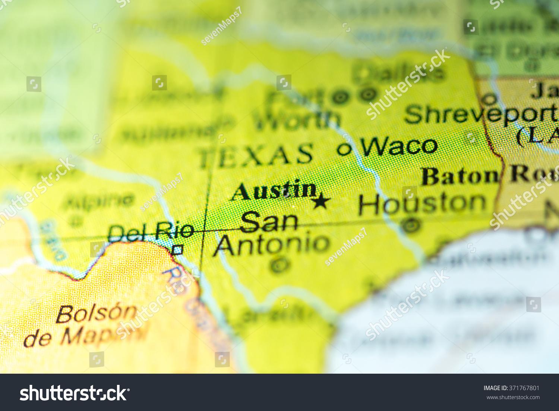 Closeup Austin Texas On Political Map Stock Photo Edit Now