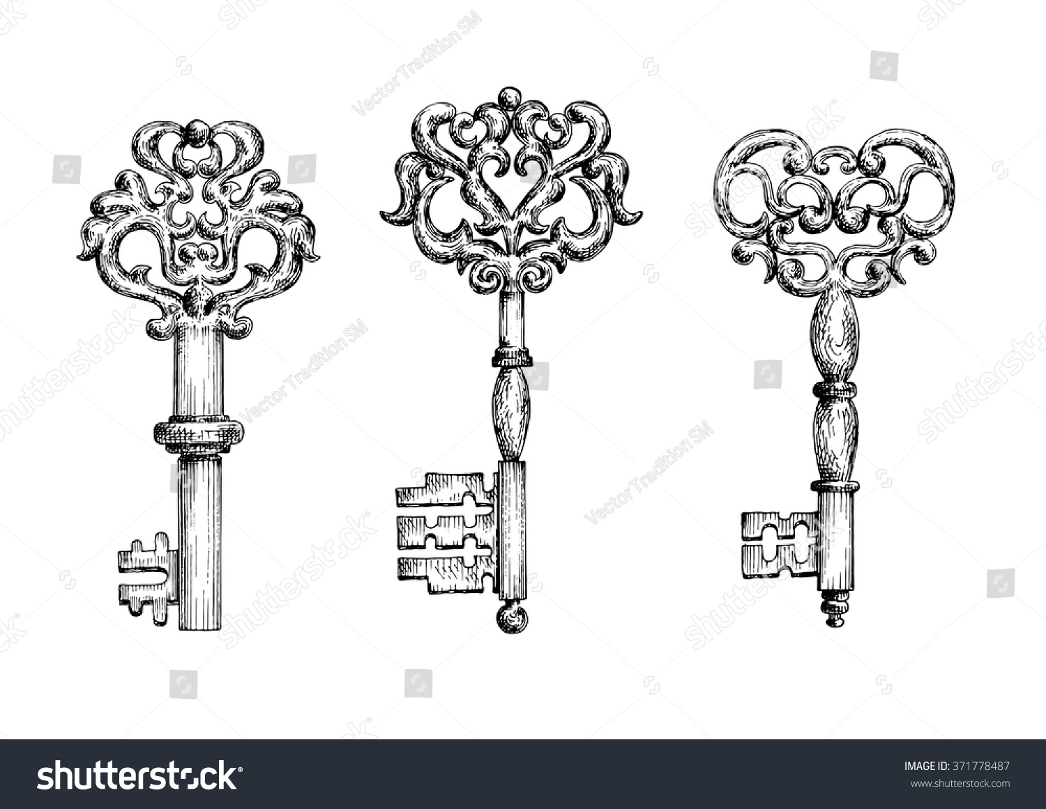 vintage keys sketch icons tattoo medieval lager vektor 371778487 shutterstock. Black Bedroom Furniture Sets. Home Design Ideas
