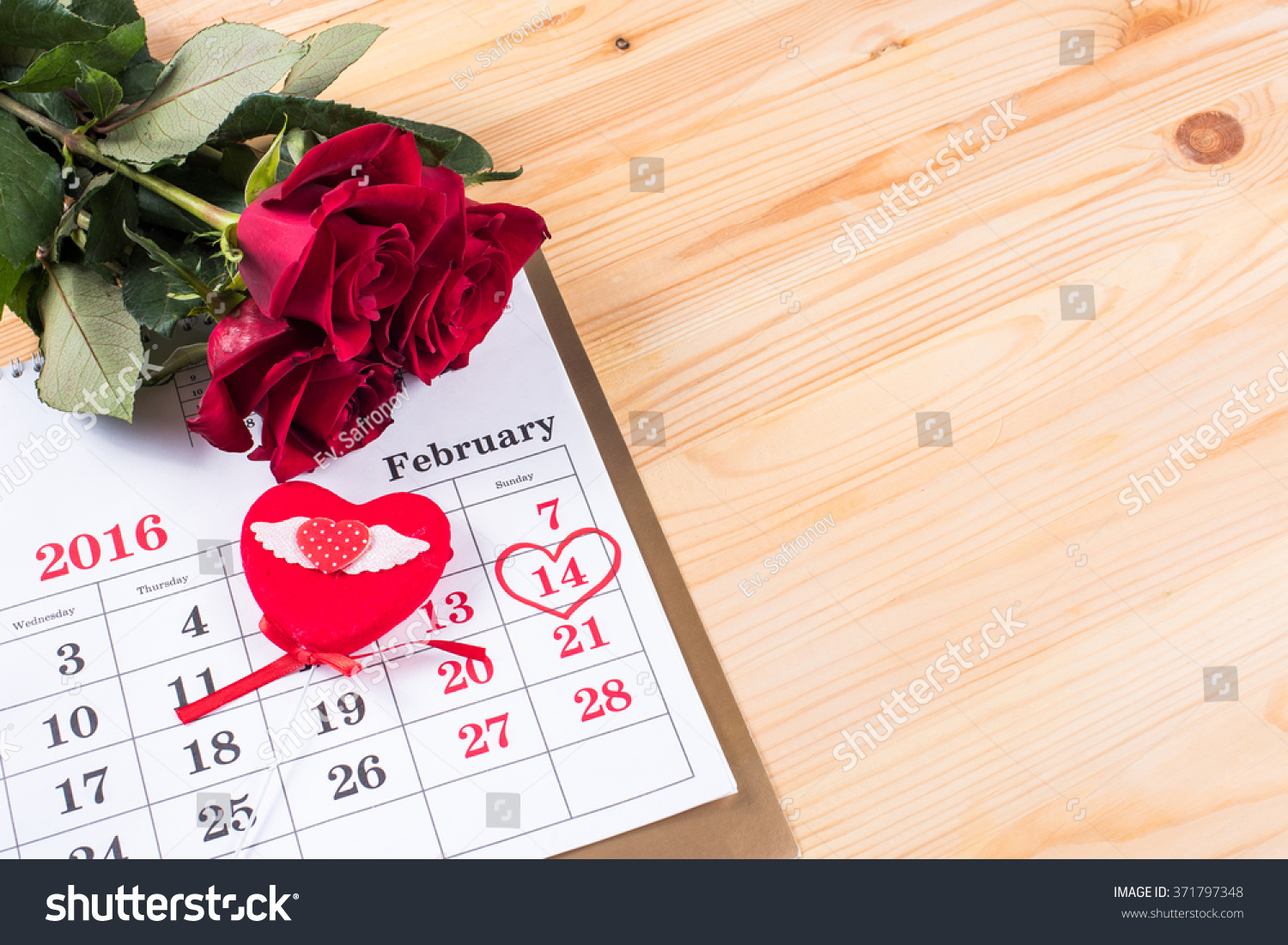 Calendar Rose Day : Calendar date february valentines stock photo