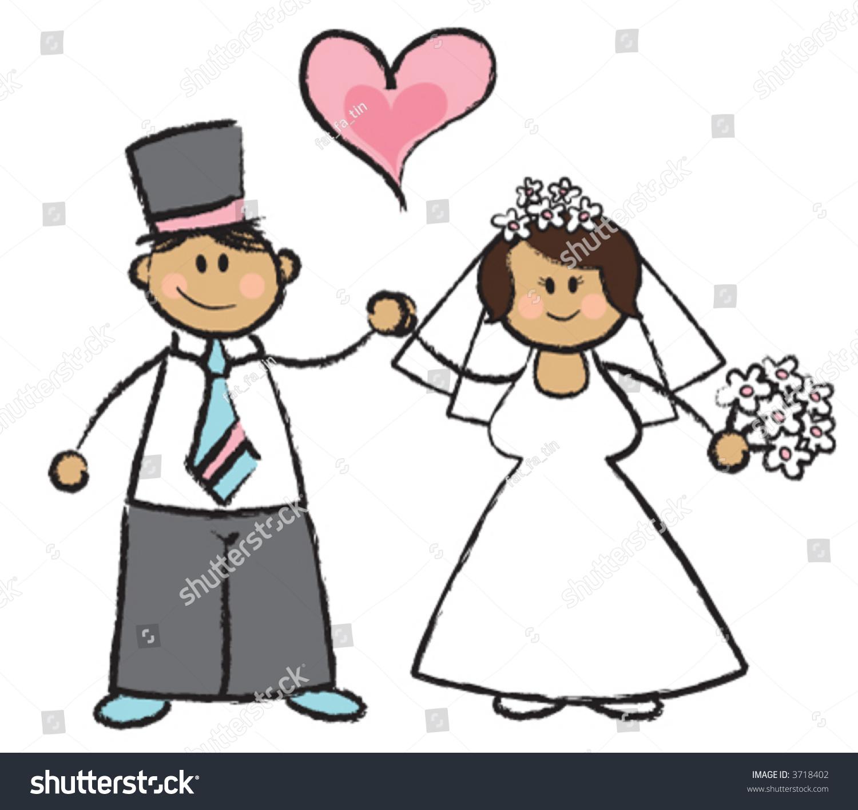Just Married Vector Cartoon Illustration Wedding Stock