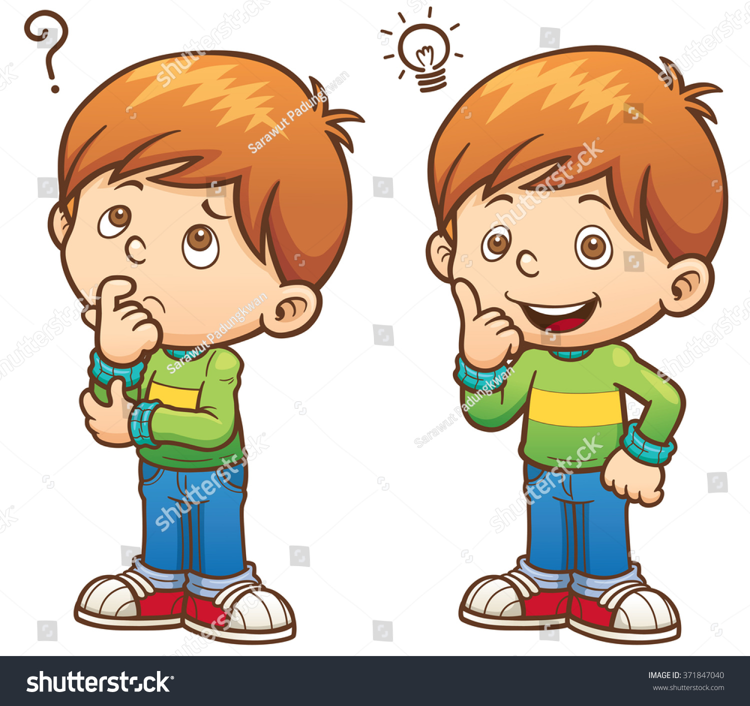 Image result for cartoon of boy happy and thinking