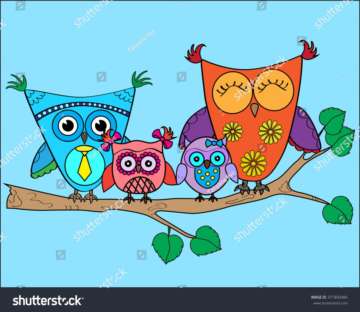 cute vector colorful owls on tree stock vector 371850484