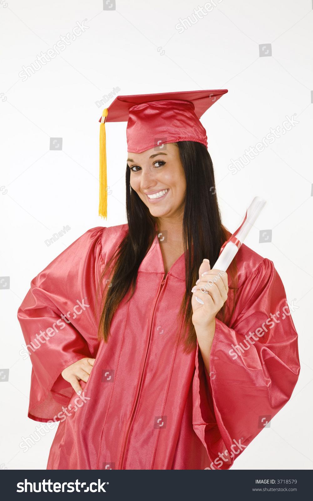 Beautiful Caucasian Woman Wearing Red Graduation Stock Photo (Edit ...