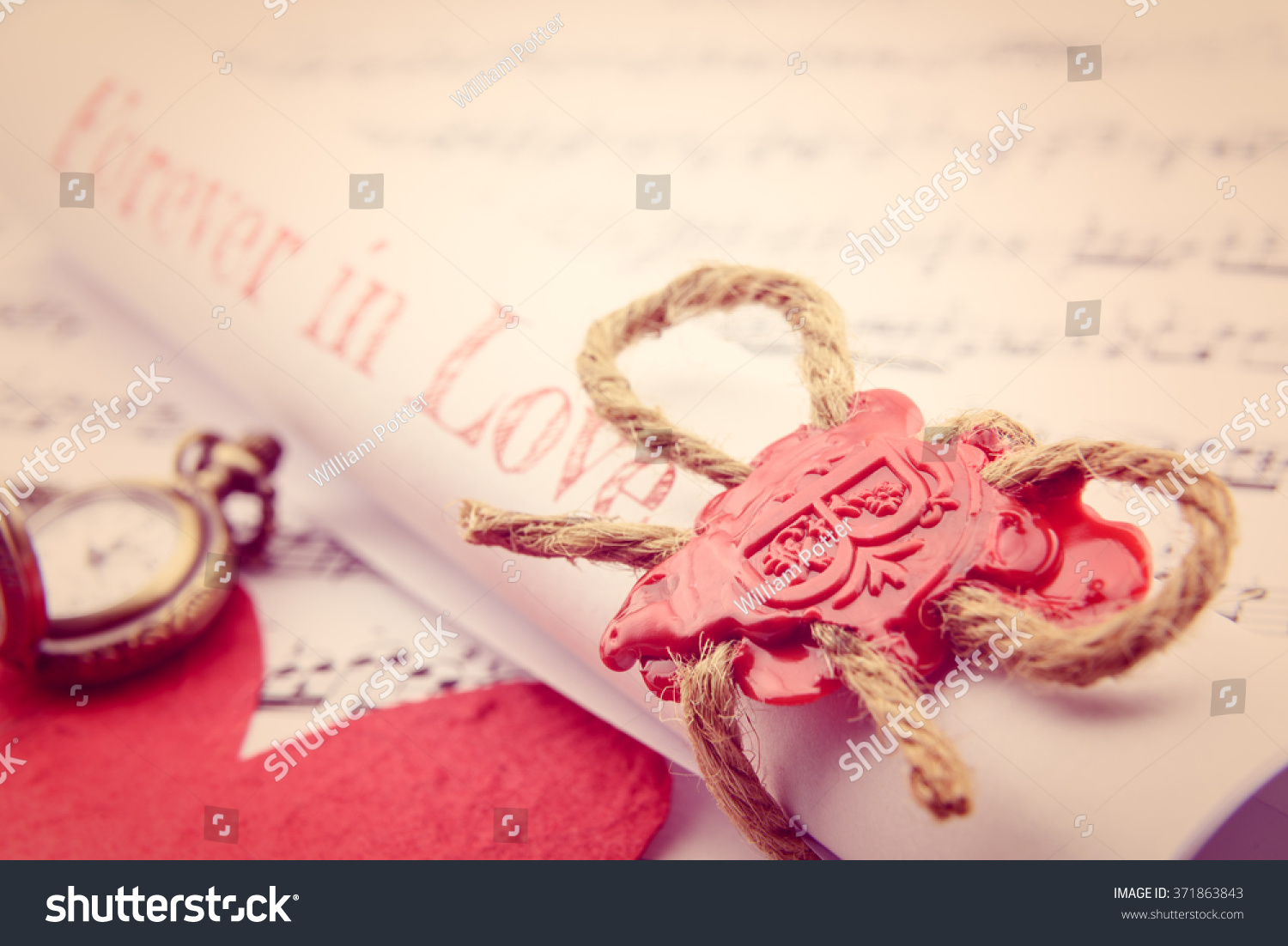 Rolled Scroll Love Letter Fastened Natural Stock Photo (Edit Now ...