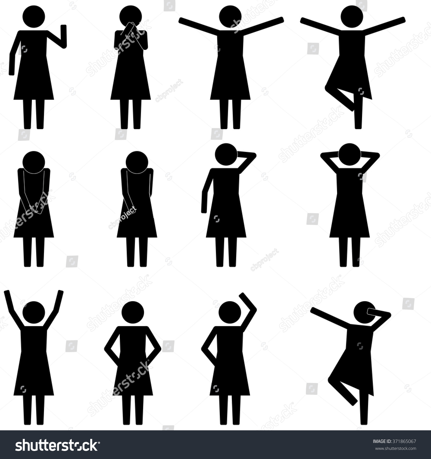 various basic girl movement icon symbol lagervektor