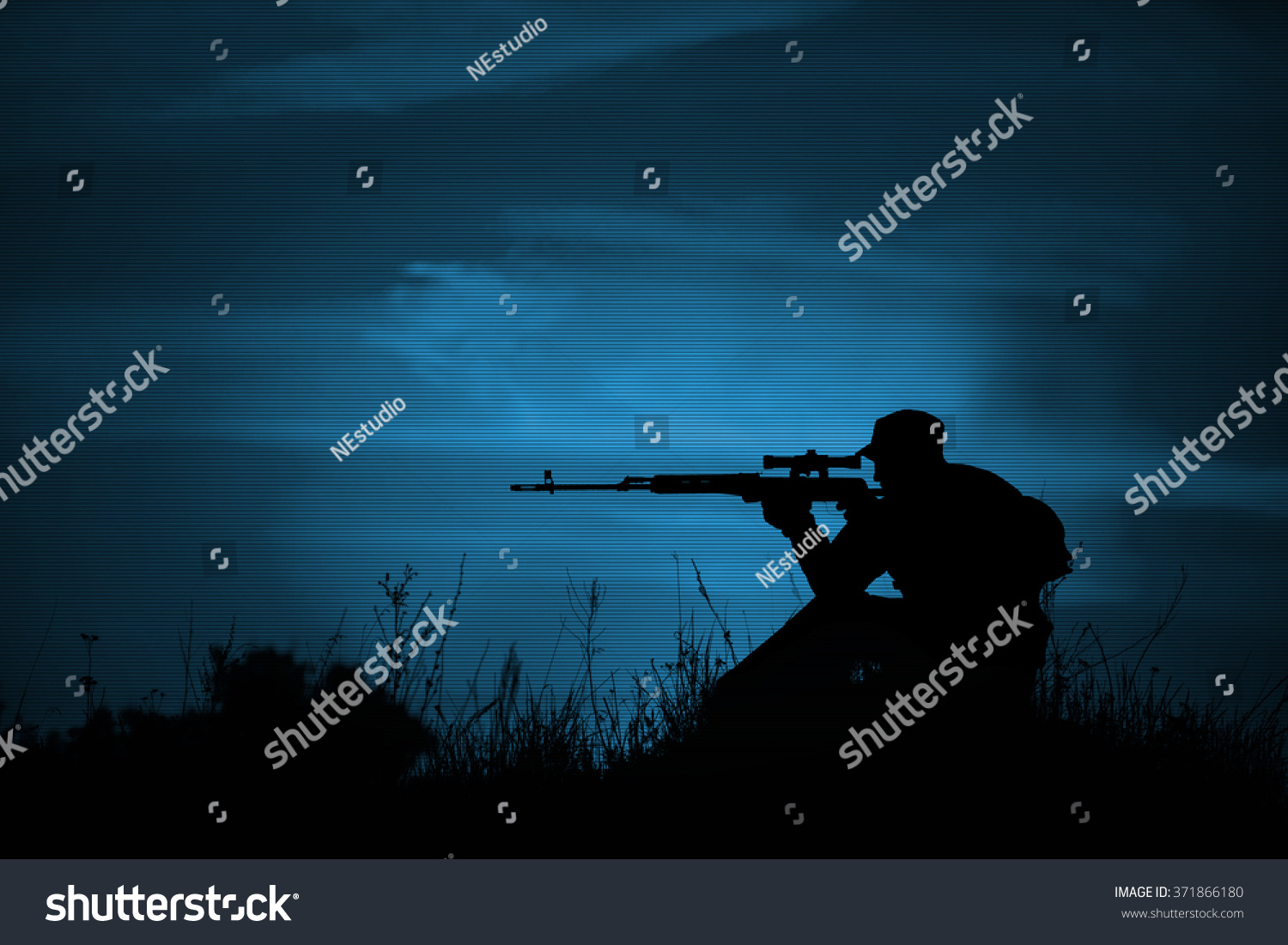 Silhouette Military Sniper Weapons Night Night Stock Photo ...