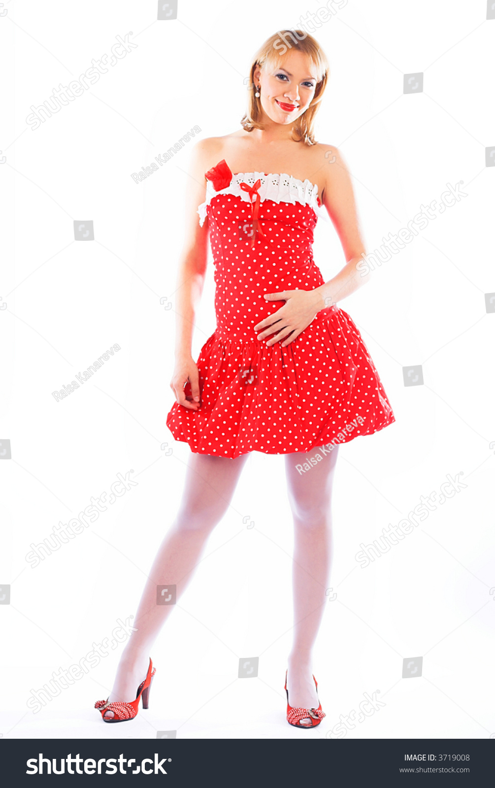 Pinup Image Lovely Blond Red Dress Stock Photo (Edit Now) 3719008 ...