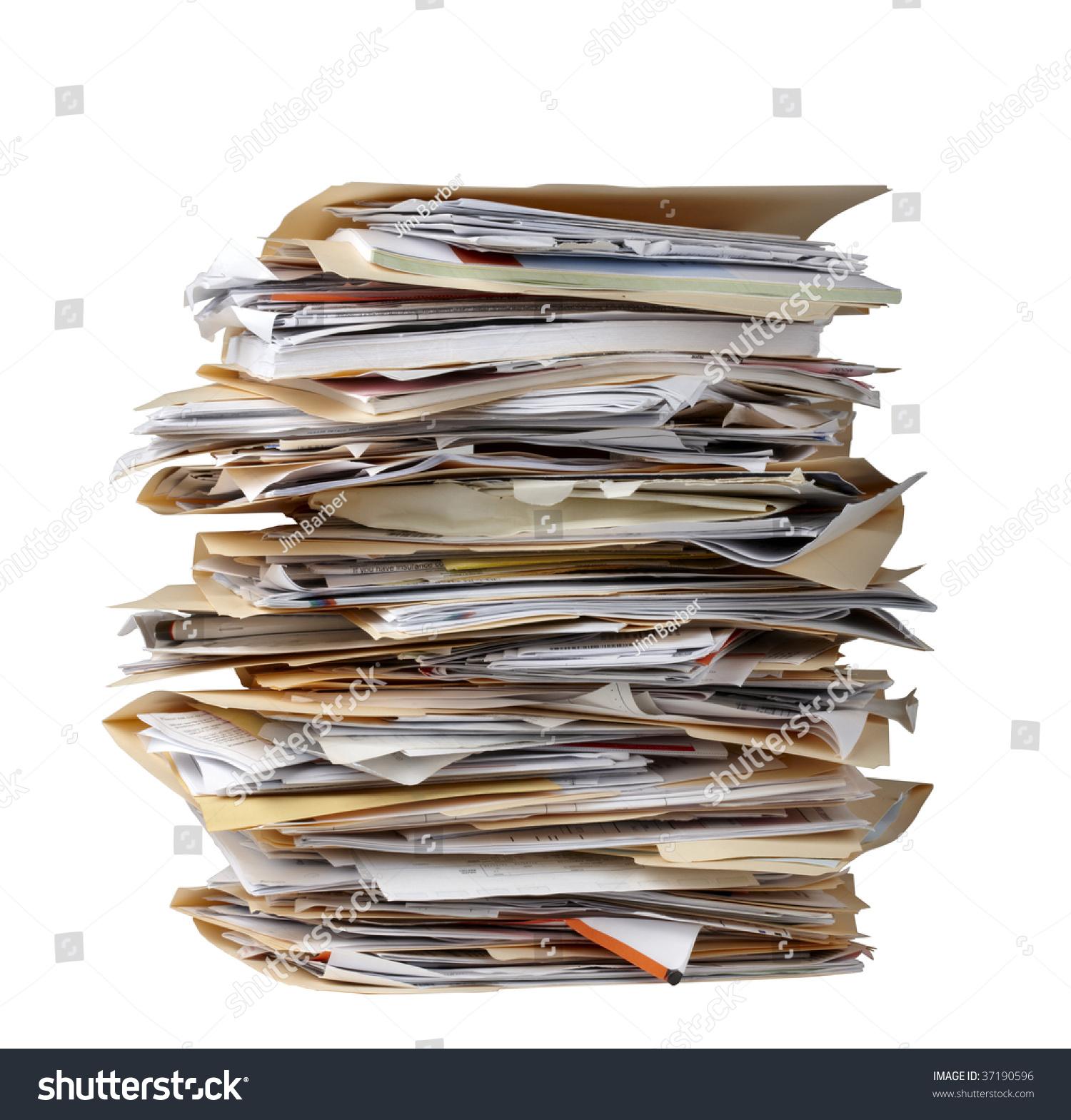 Tall Stack Manila File Folders Each Stock Photo 37190596 ...