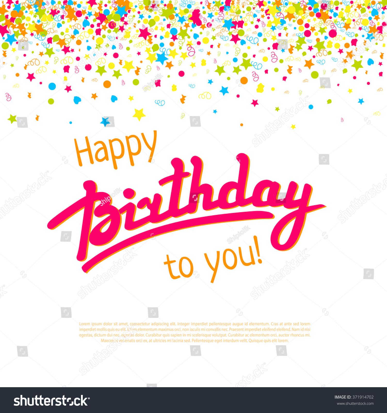 Happy Birthday Greeting Card Templatevector Lettering Vector – Happy Birthday Word Template