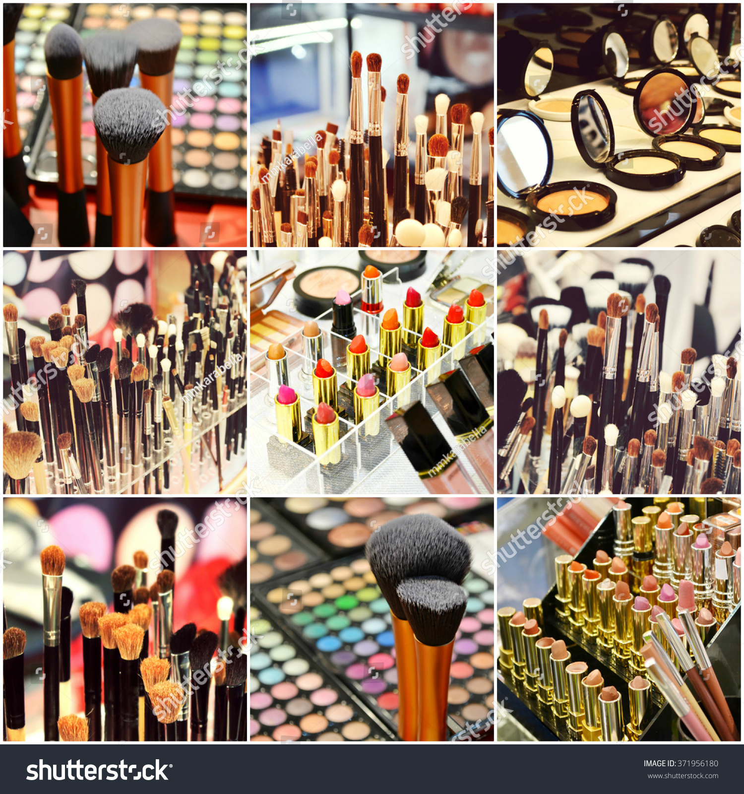 collage different cosmetic brushes makeup set stock photo