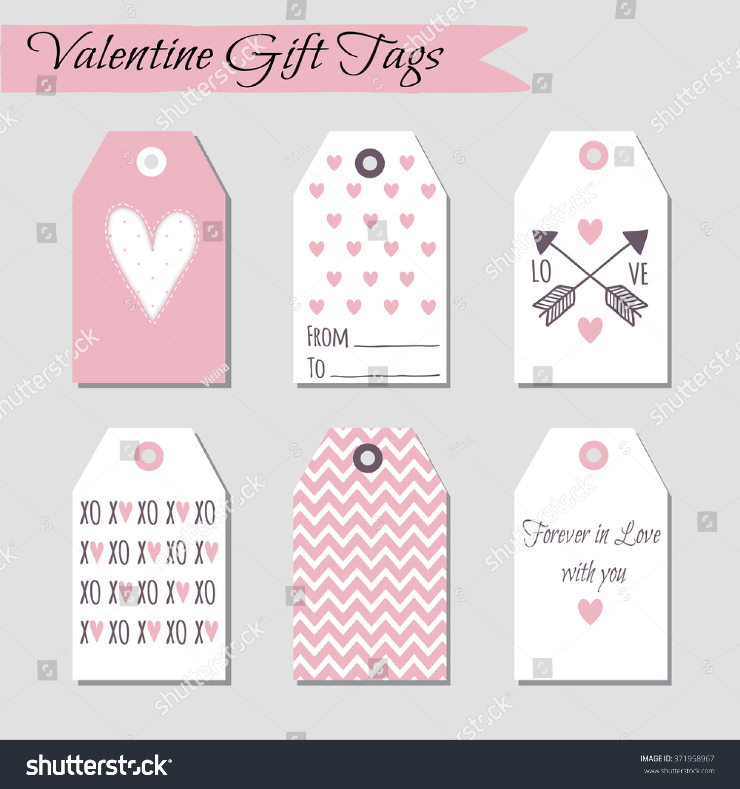 Set Valentines Day Cards Designs Vector Vector 371958967 – Valentine Day Cards Templates
