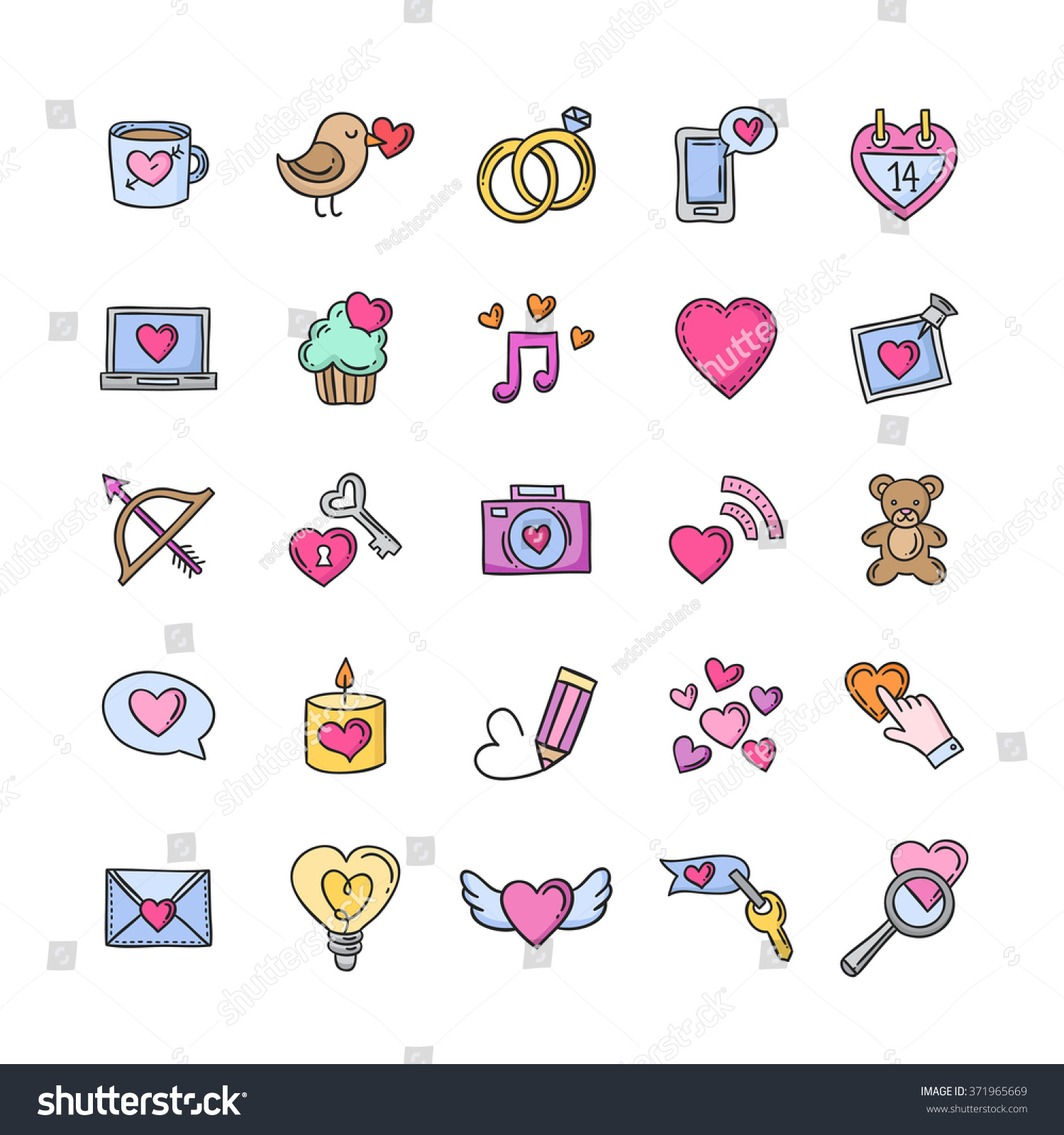 Vector doodle love icons symbols heart stock vector 371965669 vector doodle love icons and symbols heart rings gifts hand drawn signs for biocorpaavc