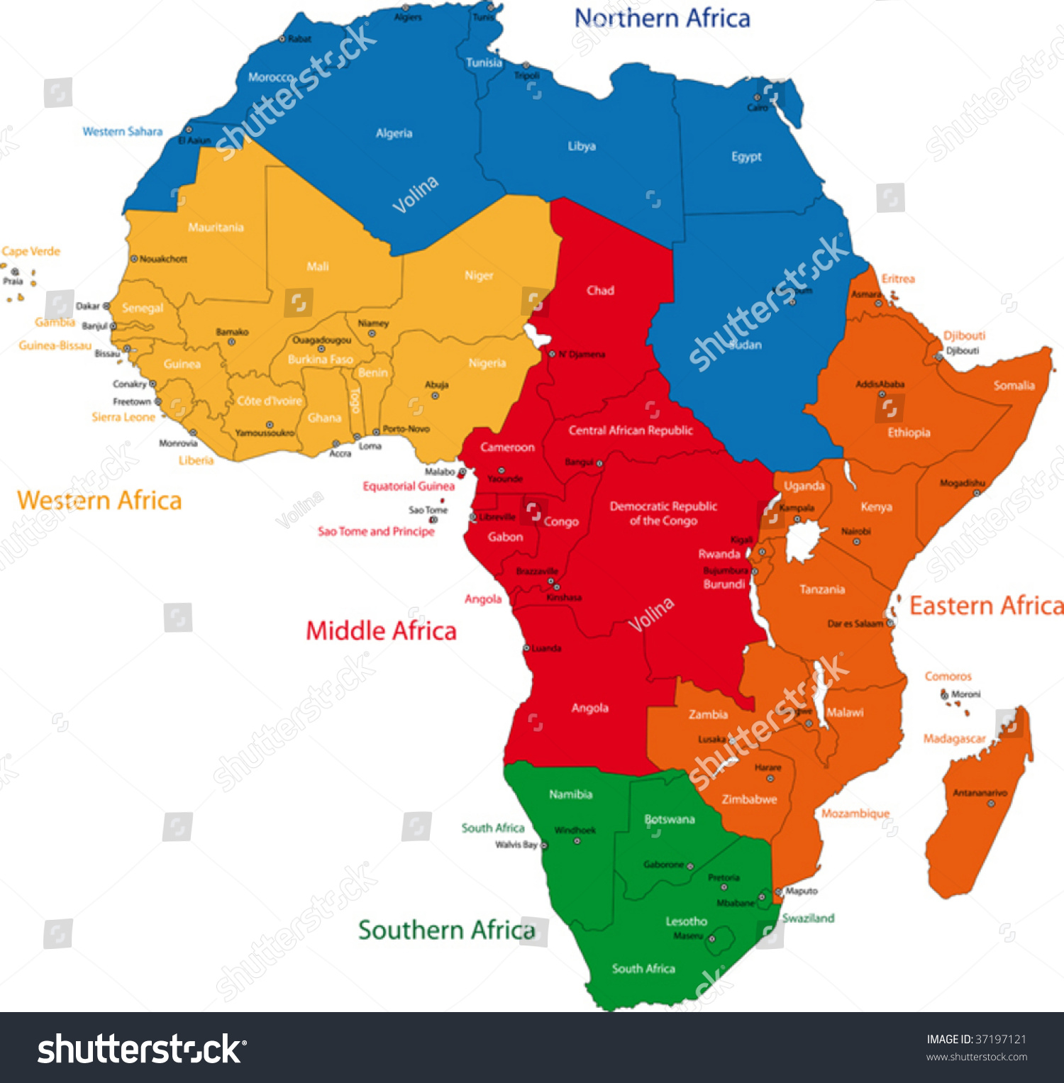 Colorful regions africa countries capital cities stock for Capital region craft fairs