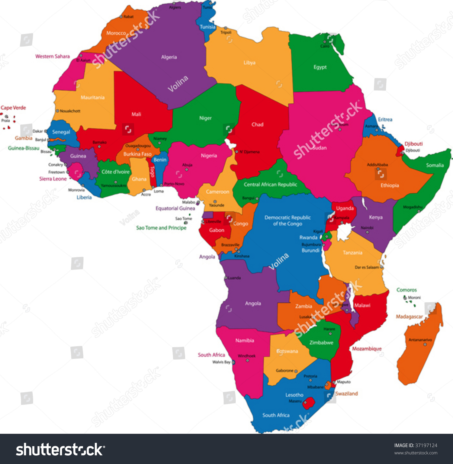 Royaltyfree Colorful Africa Map With Countries And - Africa map countries