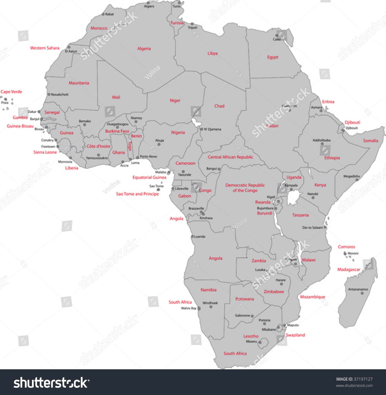 Africa Map And Countries.Africa Map Countries Capital Cities Stock Vector Royalty Free