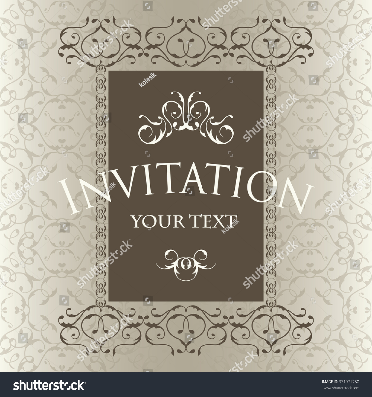 Luxury vintage frame template invitation card stock vector 371971750 luxury vintage frame template invitation card in an old style stopboris Choice Image
