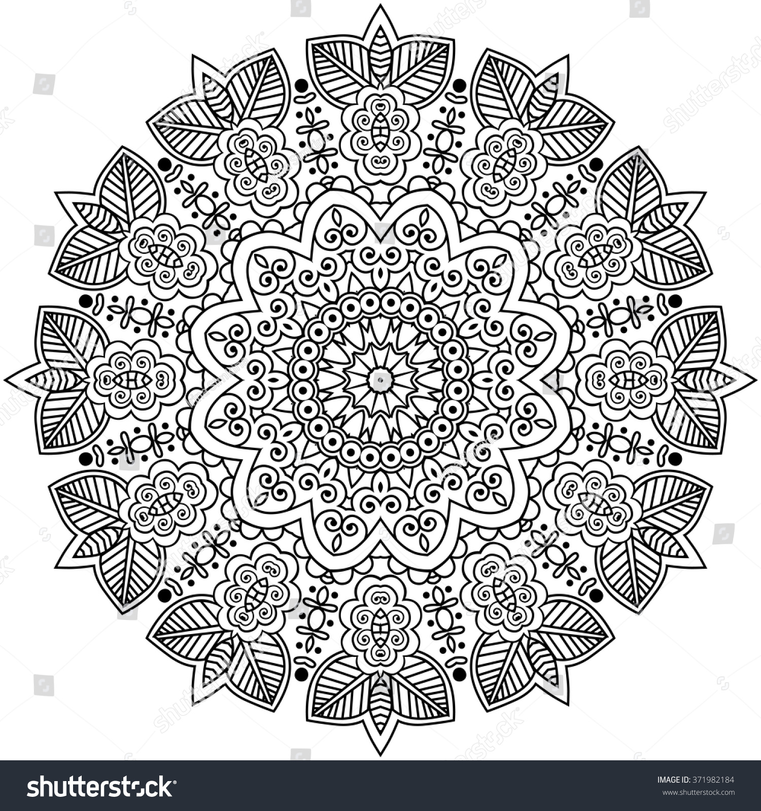 mandala coloring illustration coloring book stock vector