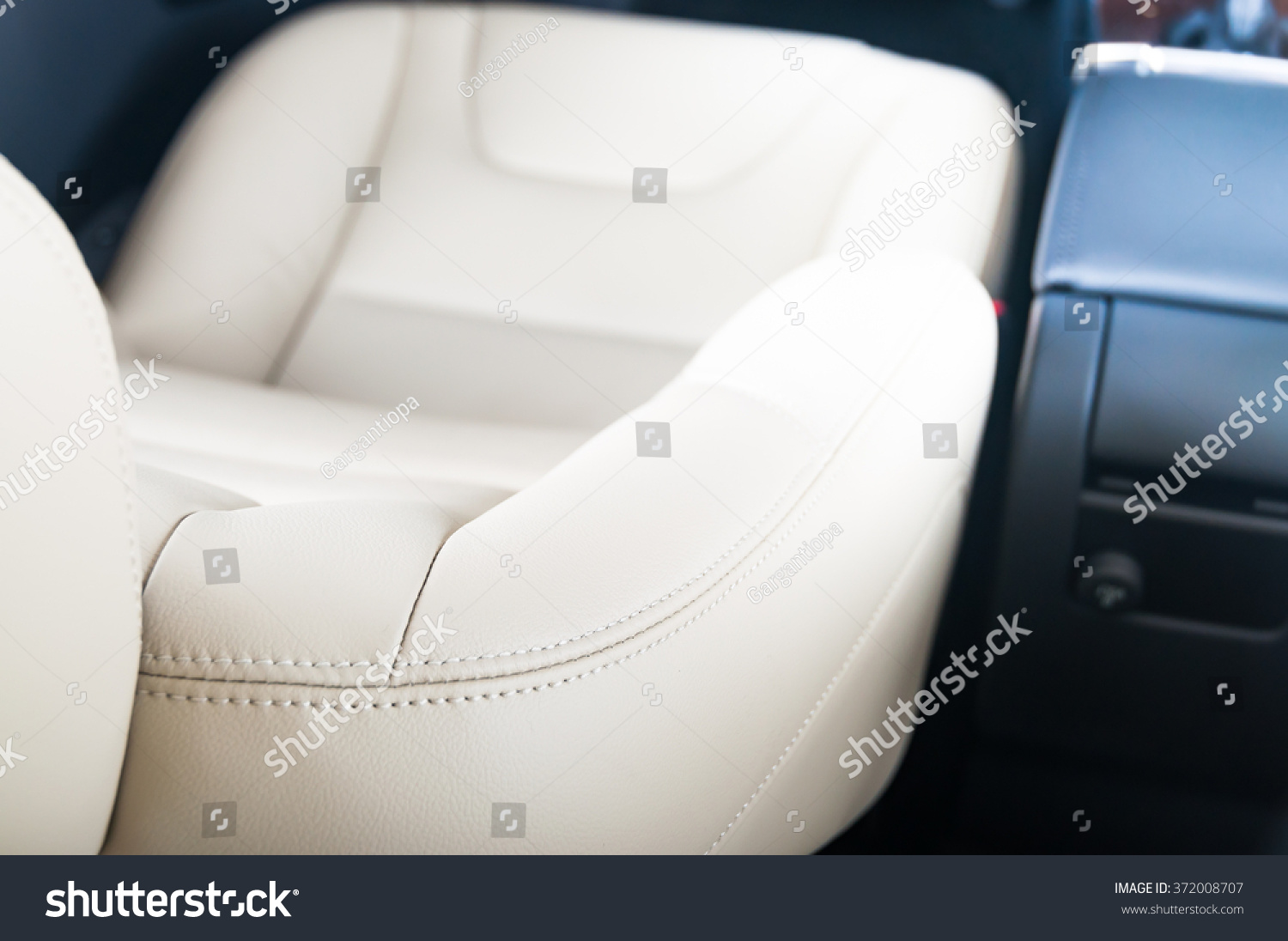 modern car interior white leather car stock photo 372008707 shutterstock. Black Bedroom Furniture Sets. Home Design Ideas