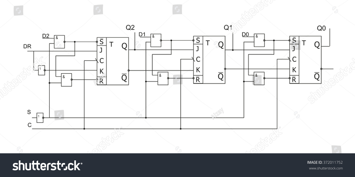 Schematic Diagram Project Electronic Circuit Graphic Stock Vector Schematics Of Design Components