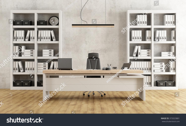 black white minimalist office desk bookcase stock illustration
