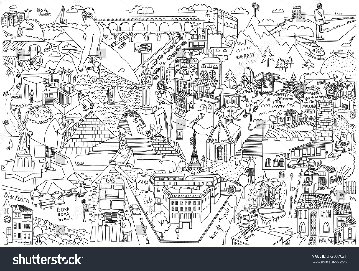 Draw Maps Of Cities Doodles Coloring Comic Attractions Map