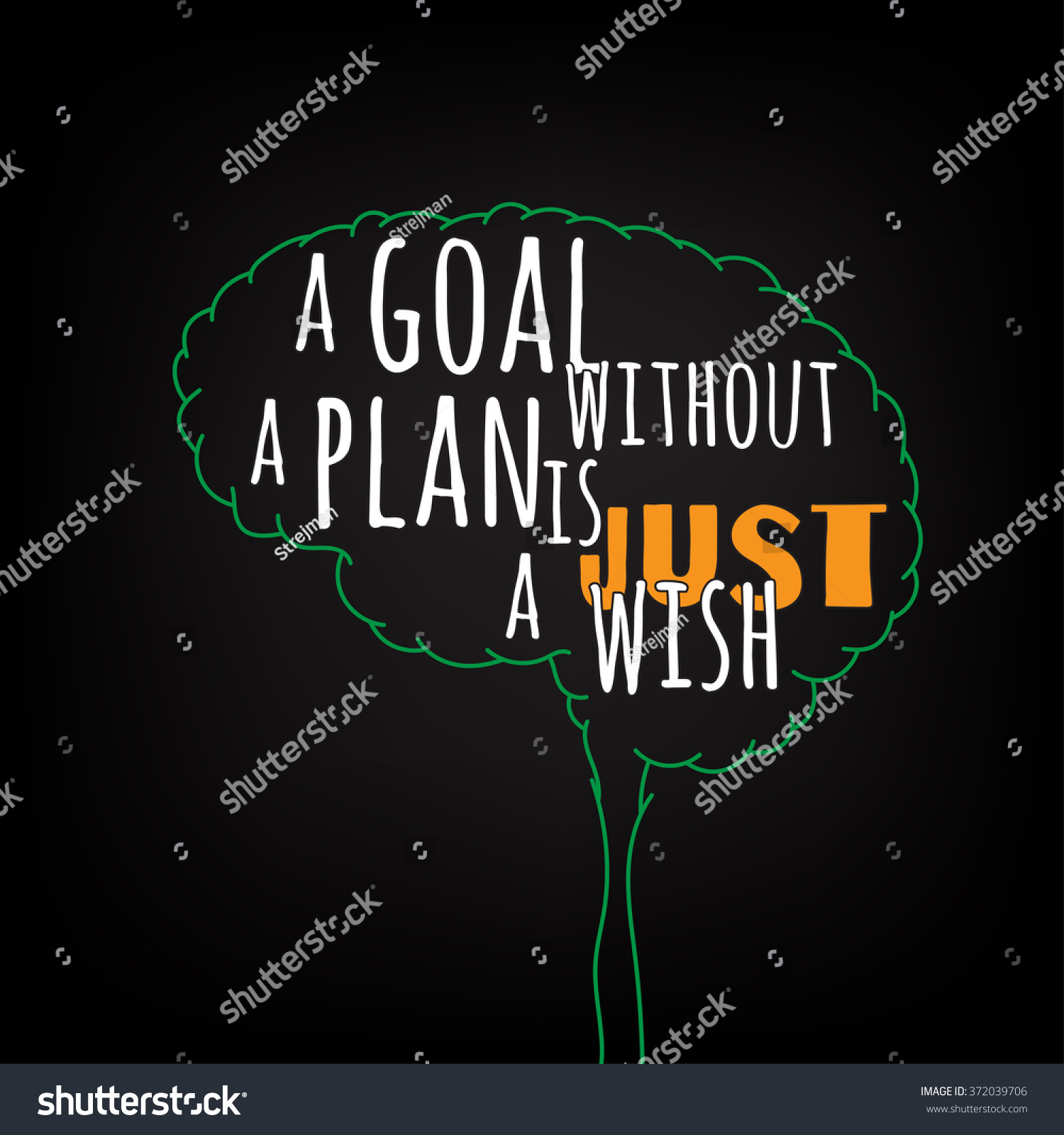 Goal Without Plan Just Wish Motivation Stock Vector 372039706 ...