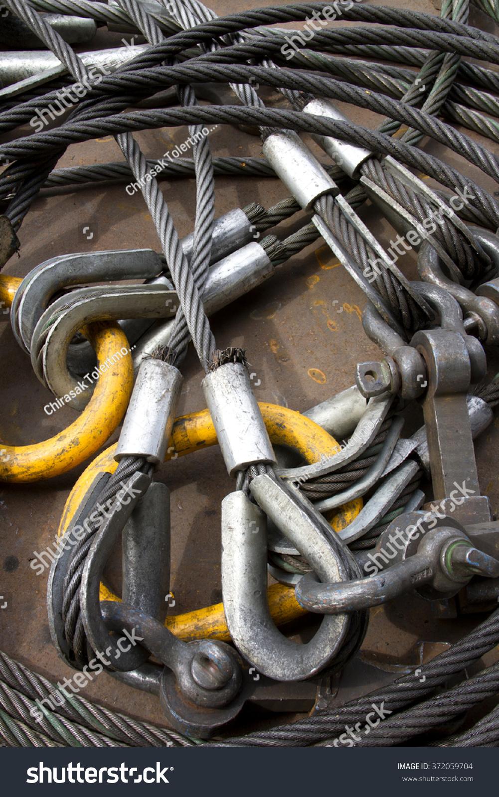 Heavy Duty Steel Wire Rope Sling Stock Photo (Edit Now) 372059704 ...