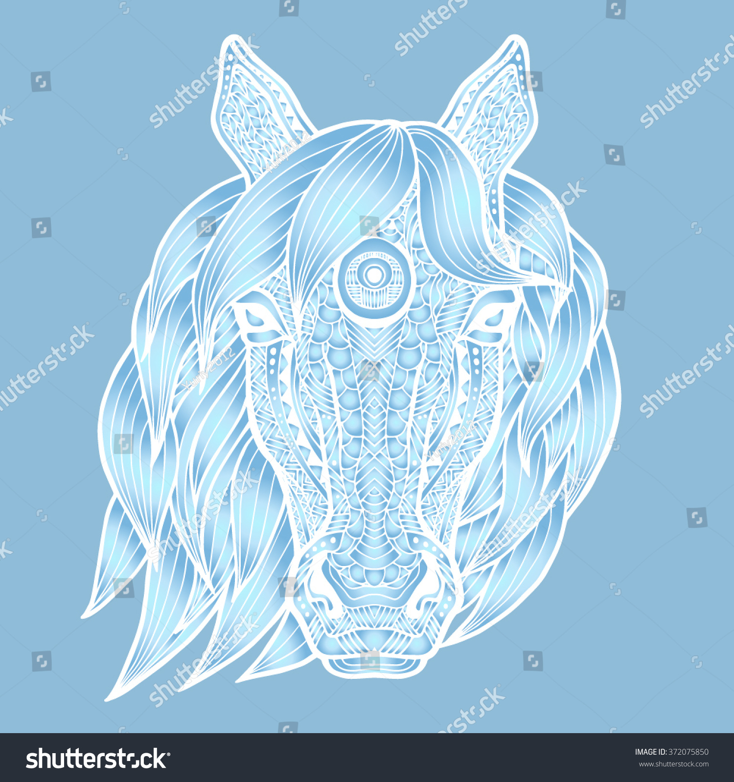 Ice Horse Sculpture Made Ice Horses Stock Vector Royalty Free 372075850