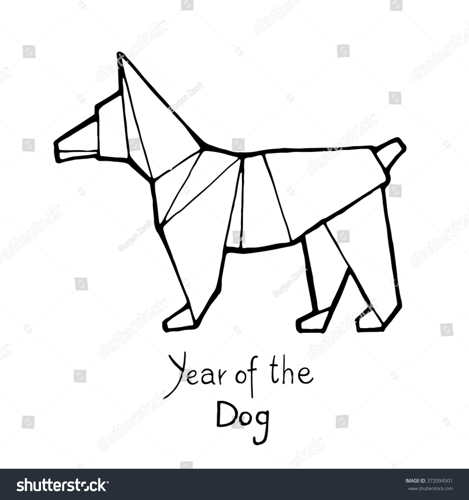 Dog Origami Chinese Zodiac Hand Drawn Vector Illustration