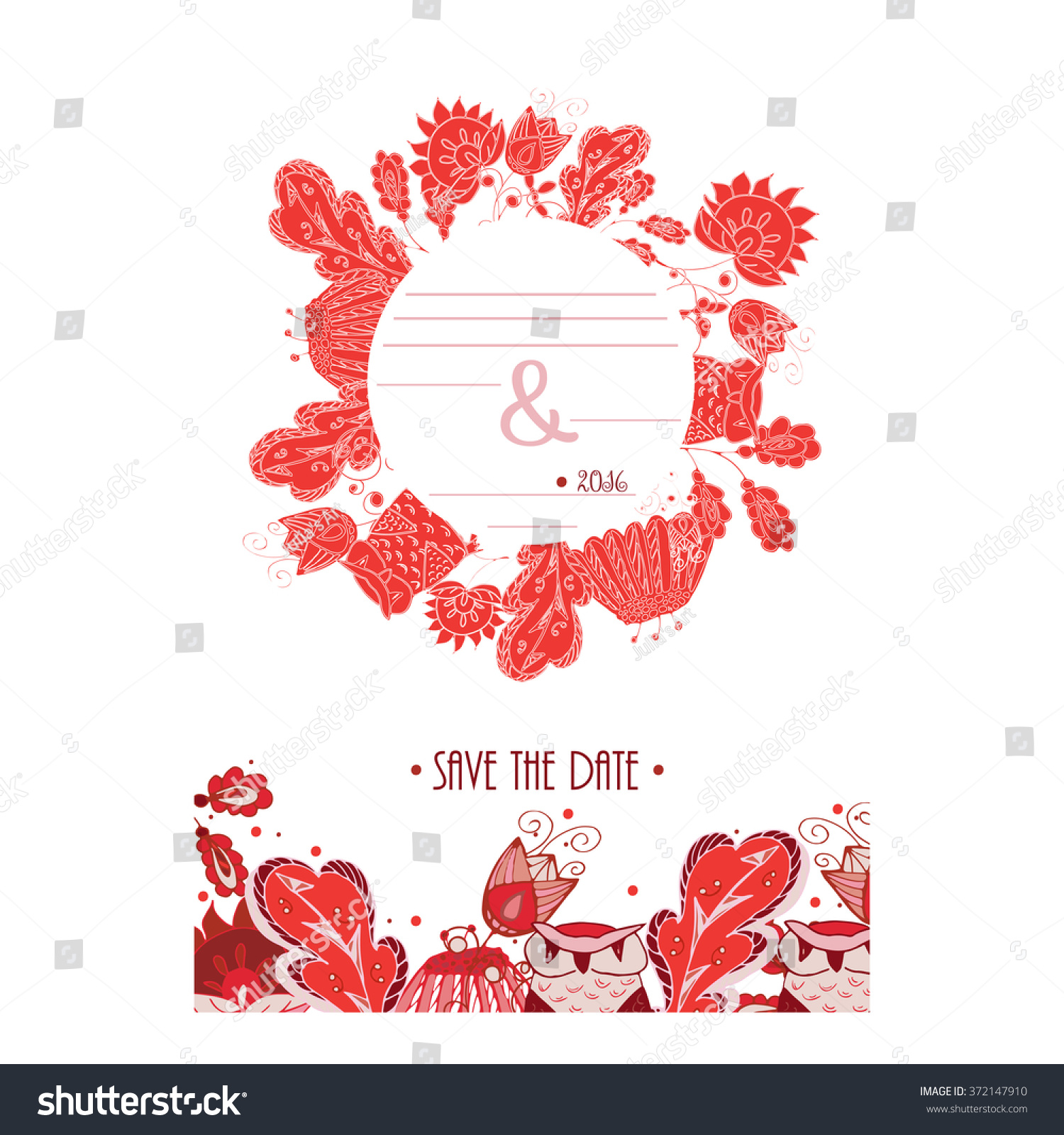 Red Save Date Card Isolated On Stock Vector (Royalty Free) 372147910 ...