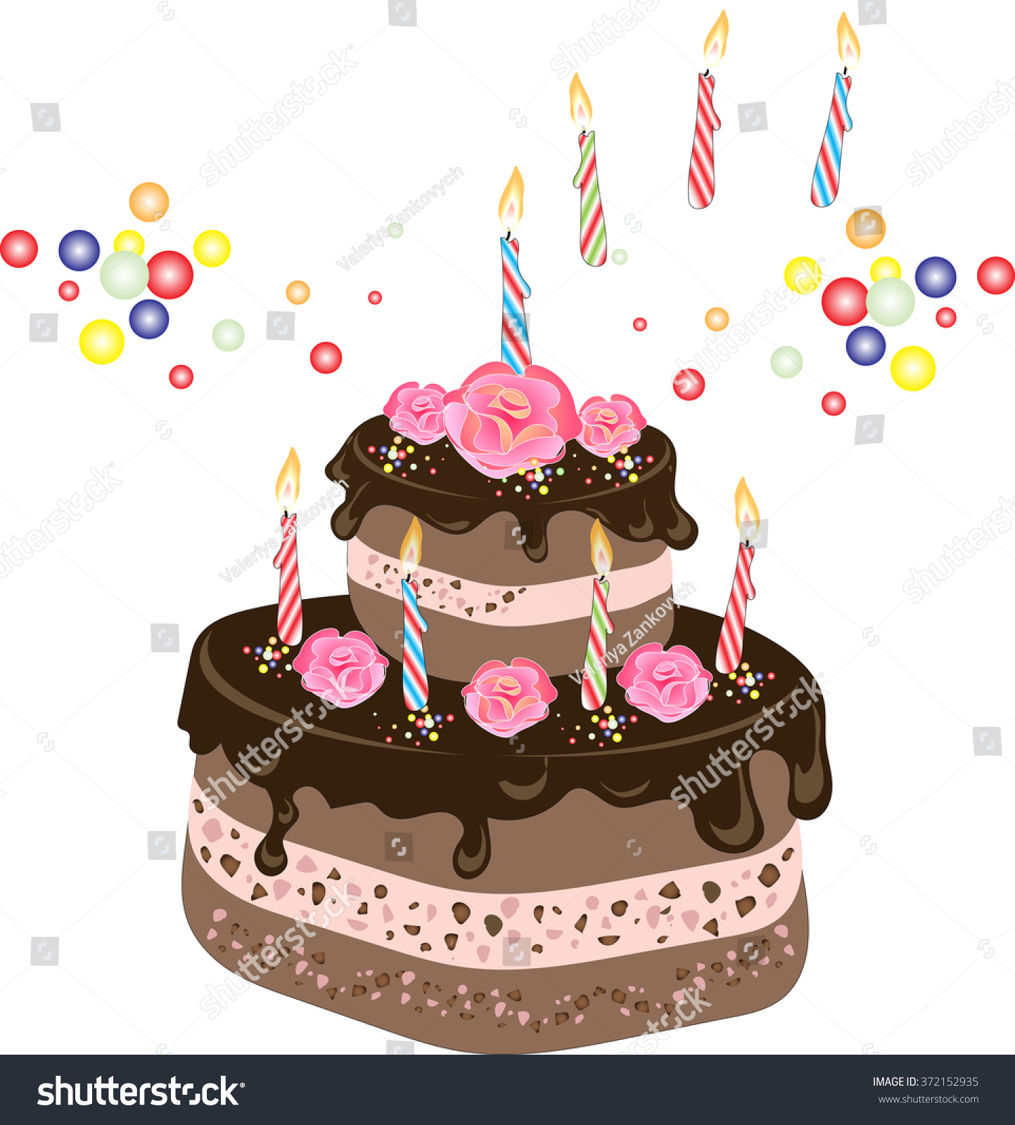 Chocolate birthday cake with chocolate frosting candles cream rose id 372152935 izmirmasajfo