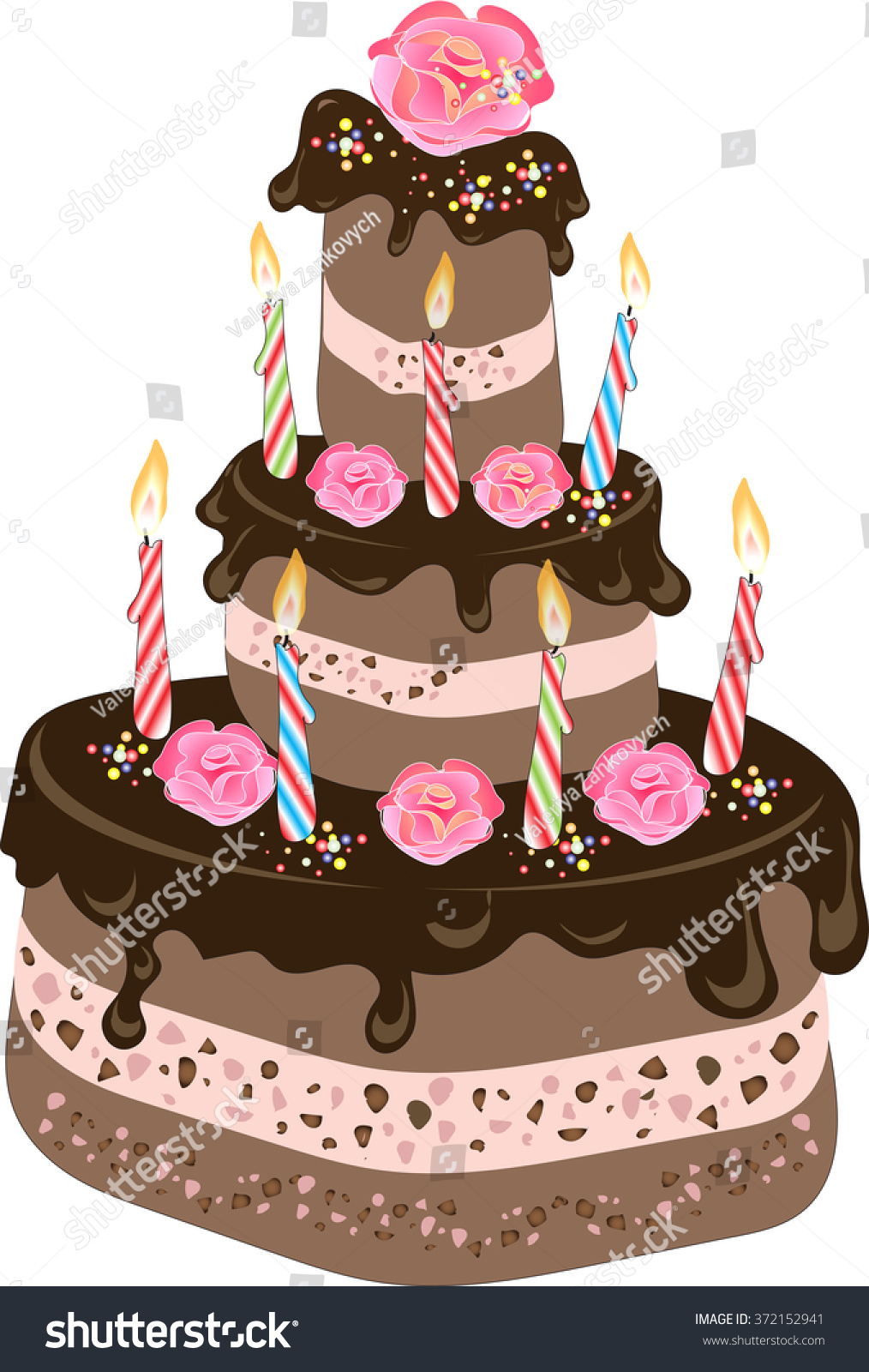 Chocolate birthday cake chocolate frosting candles stock vector chocolate birthday cake with chocolate frosting candles cream rose flowers and colorful sprinkles izmirmasajfo