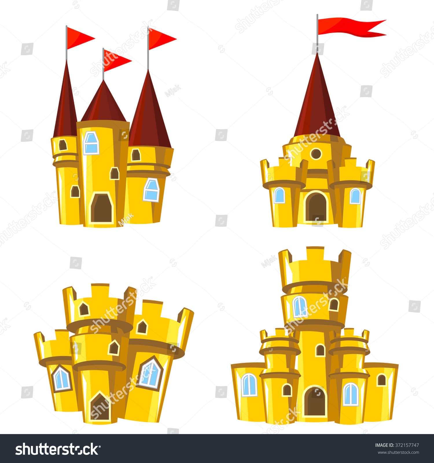 set four editable gold castles game stock vector 372157747