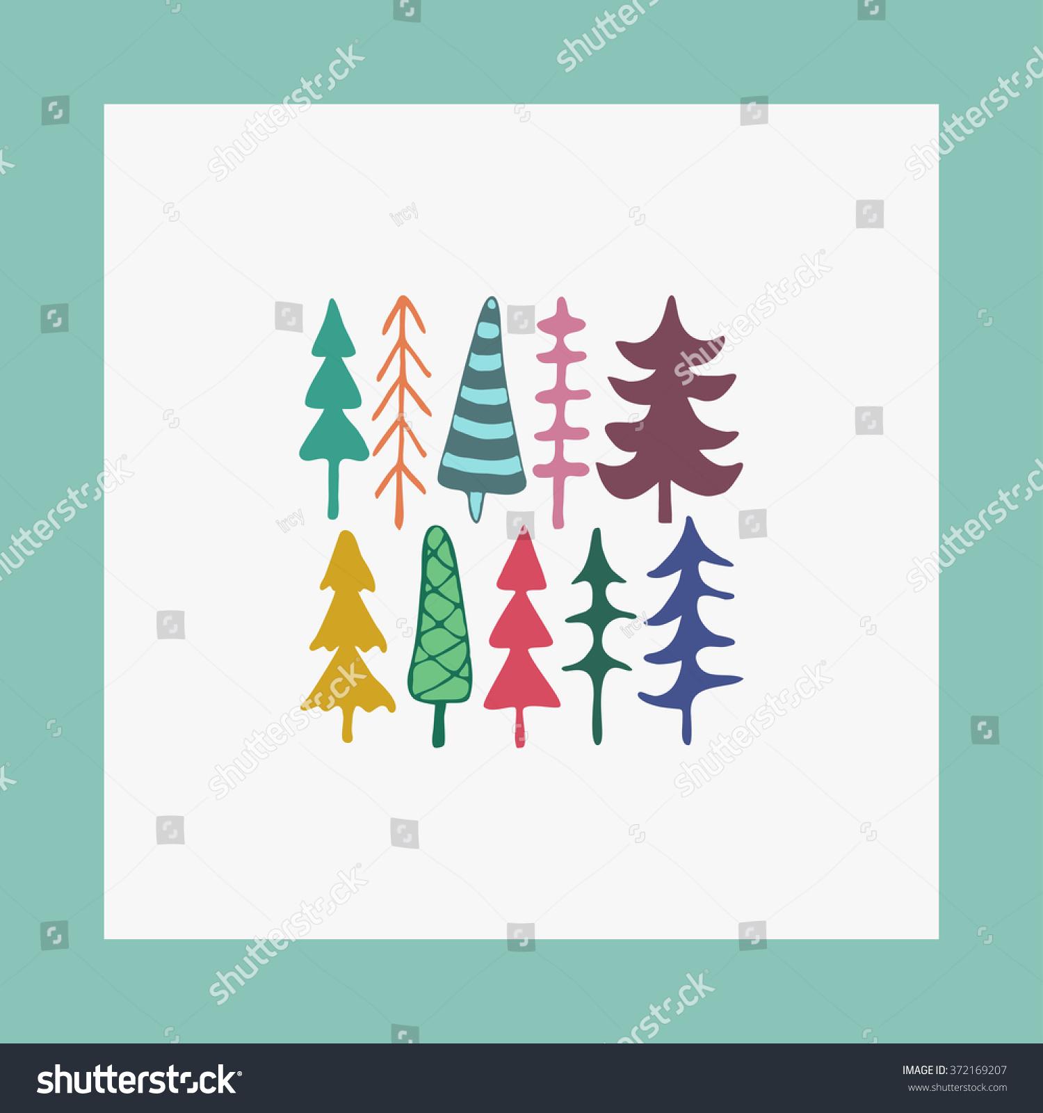 Greeting Card Illustration Fir Christmas Trees Stock Illustration
