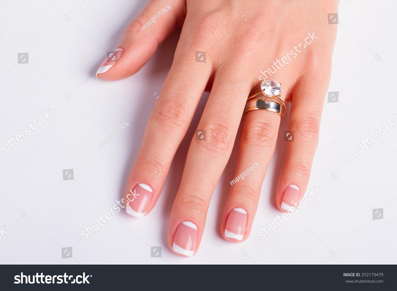 Beautiful Moon French Manicure Diamond Ring Stock Photo & Image ...