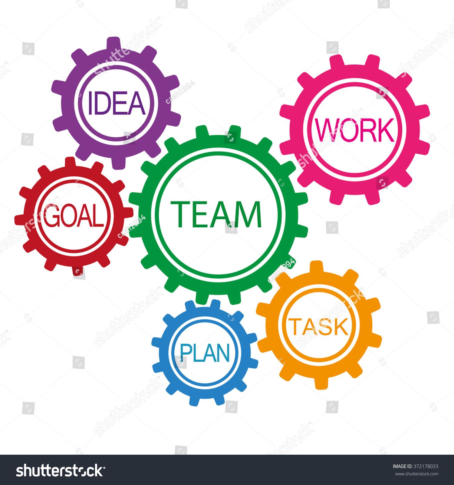 Colored Gears Modern Teamwork Human Resource Stock Vector ...