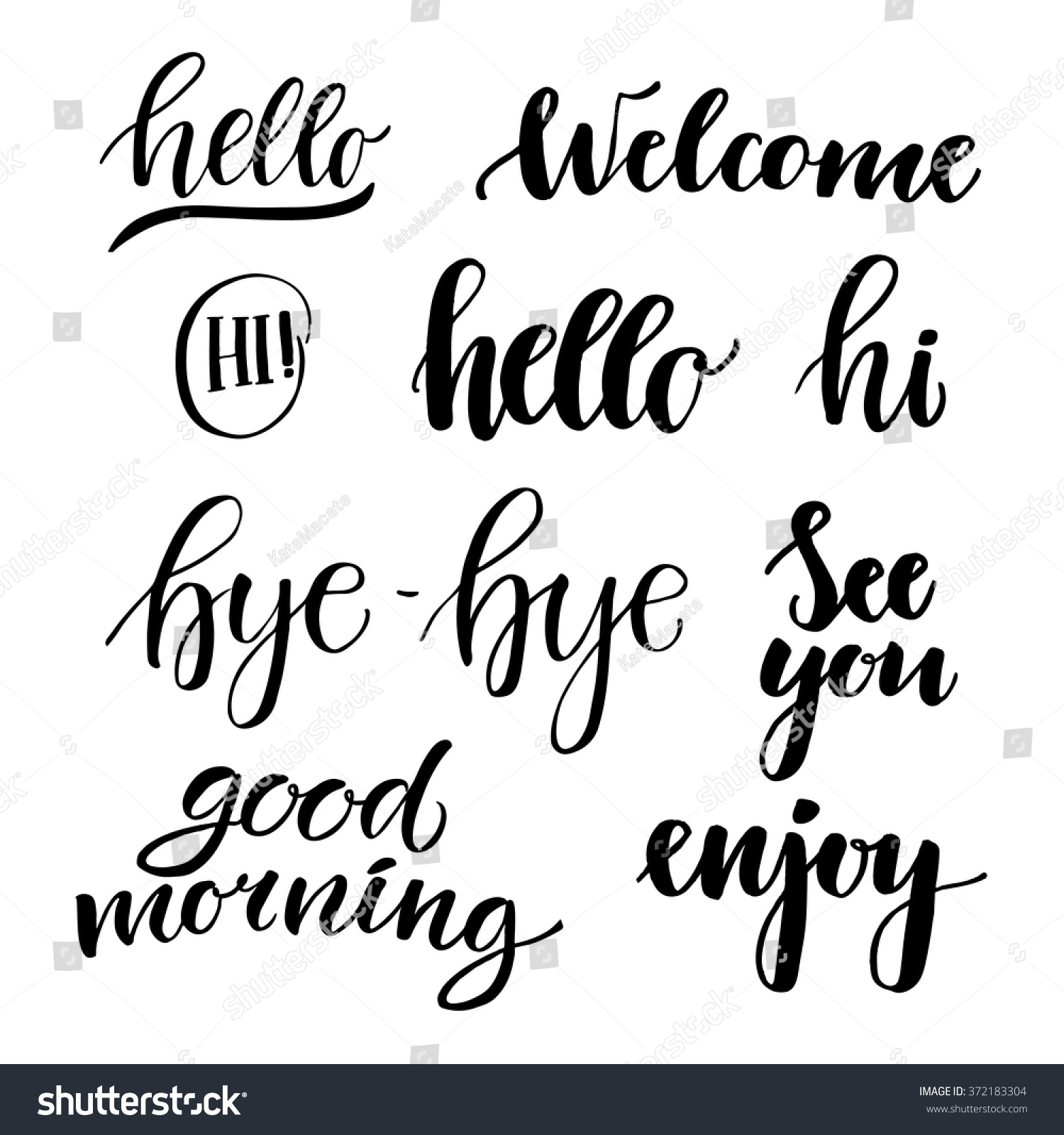 Hi Good Morning Quotes: Vector Illustration Hand Lettering Catchwords Hello Stock