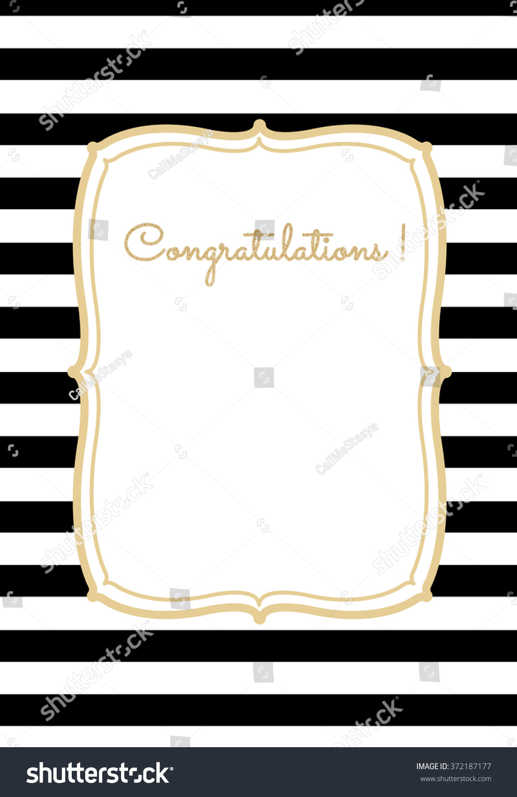 Greeting Card Striped Background Frame Golden Stock Vector Royalty