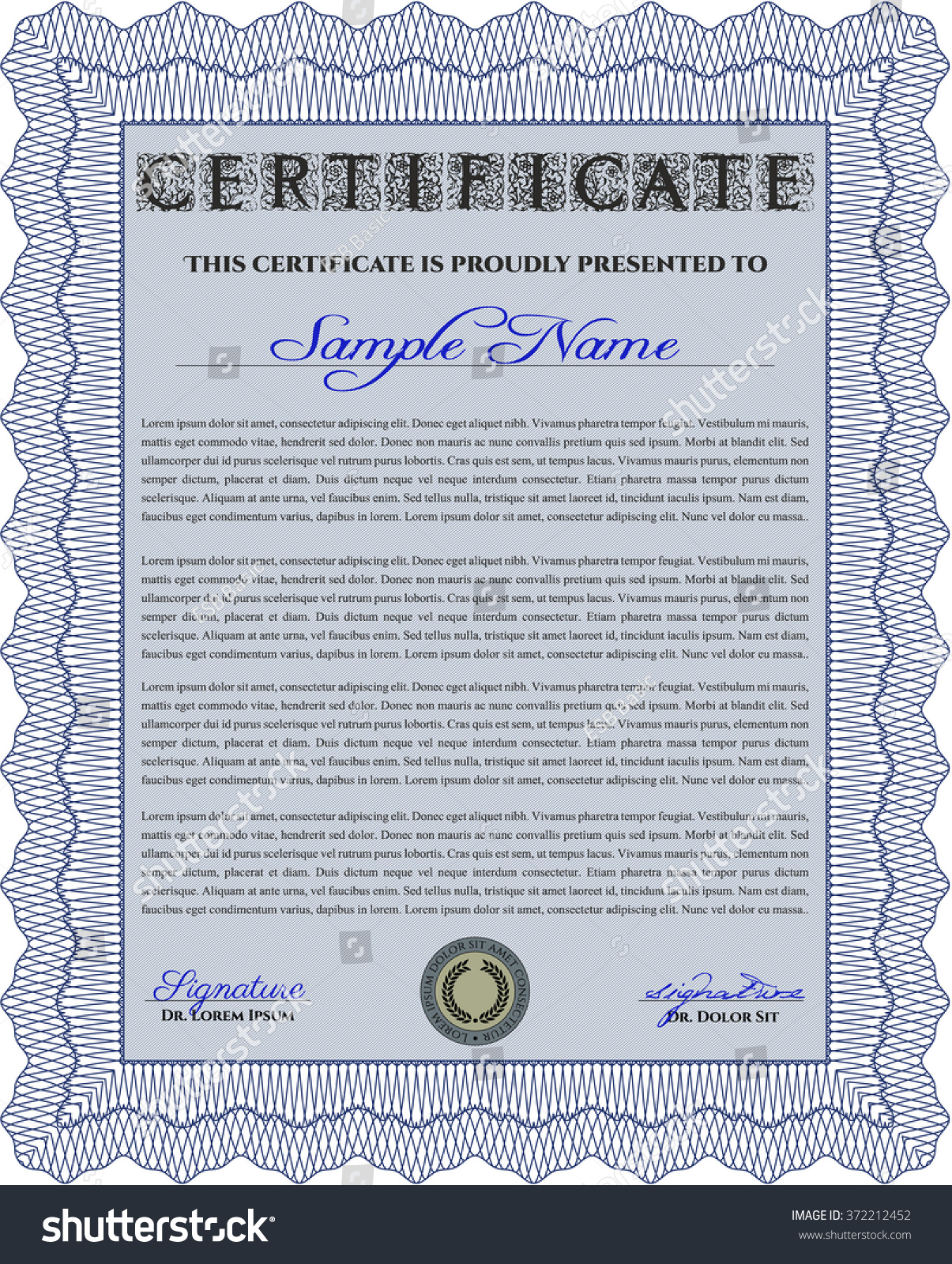 Certificate Achievement Template Diploma Completion Guilloche Stock ...