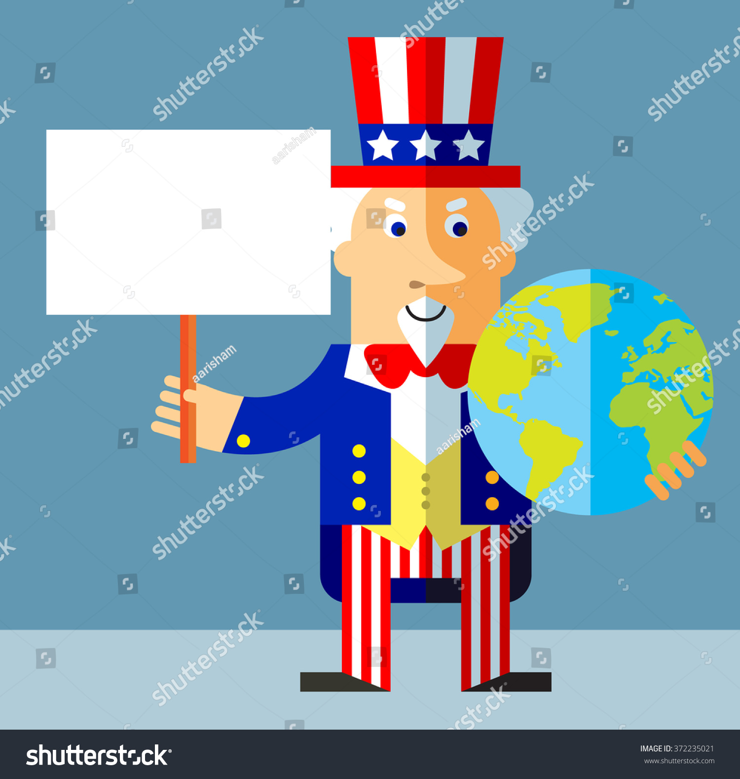 Royalty Free Uncle Sam Holding A Globe And Blank 372235021 Stock