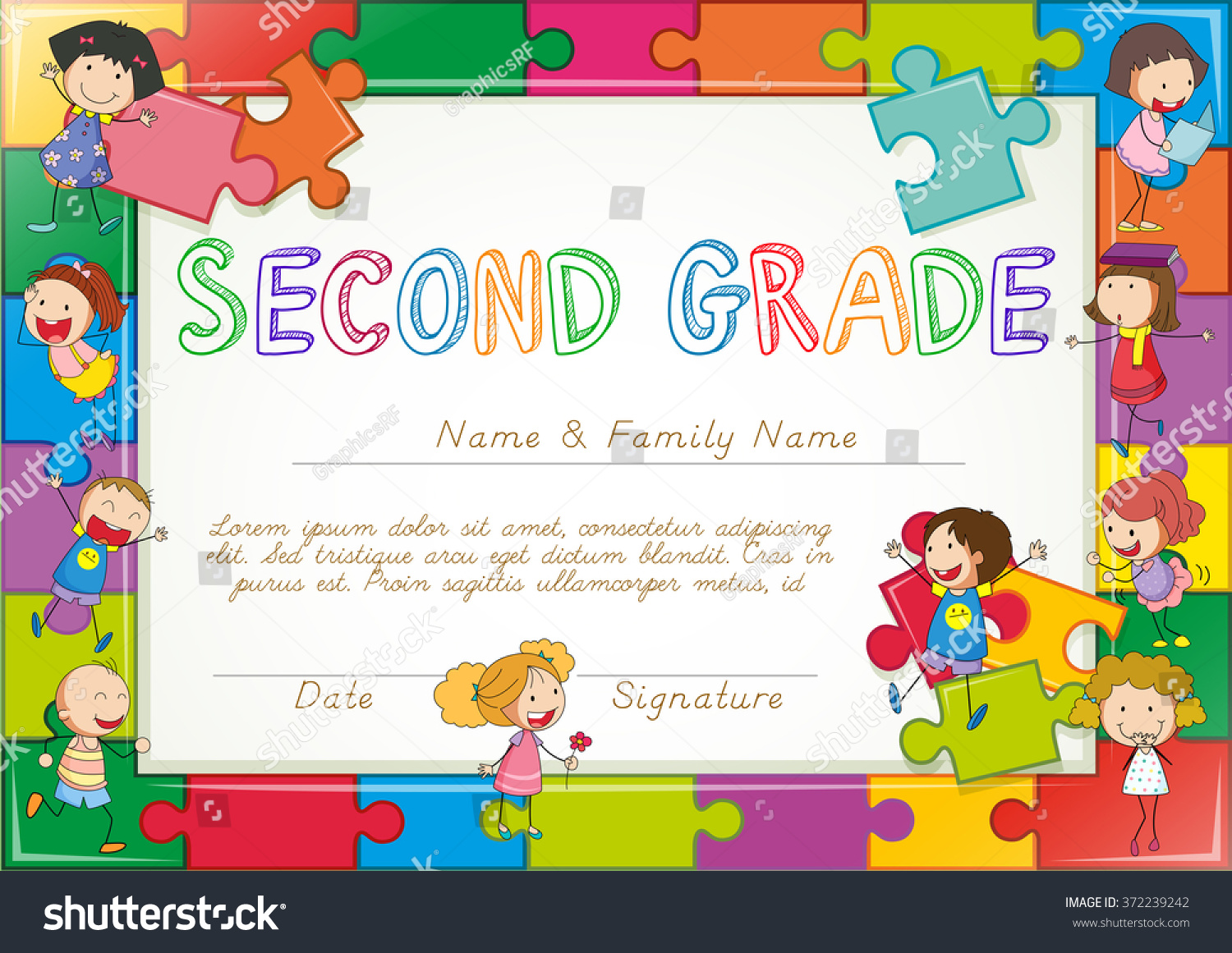 Royalty Free Certificate Template For Second Grade 372239242 Stock