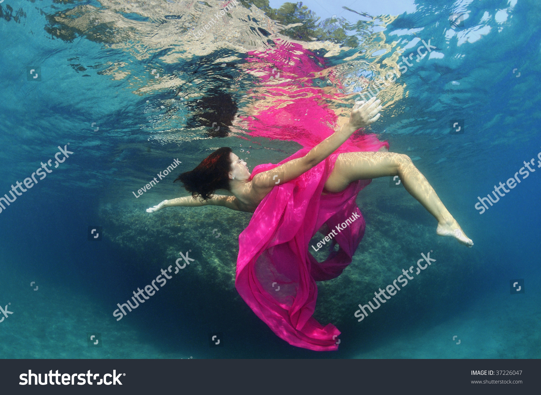 Nude Beautiful Girl Under Water Soft Stock Photo 103830623
