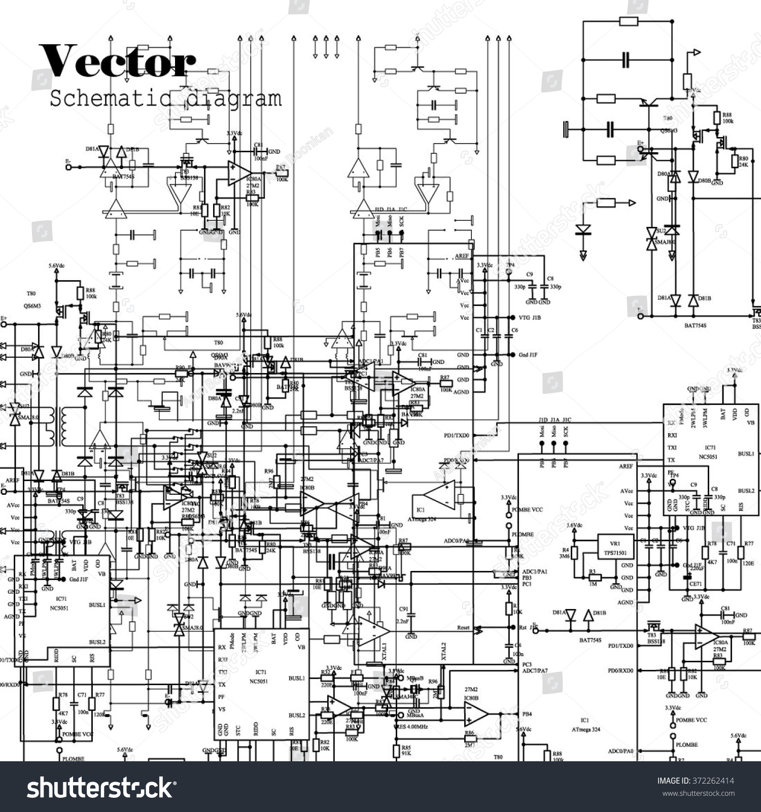 Schematic Diagram Project Electronic Circuit Graphic Stock Vector Projects Of