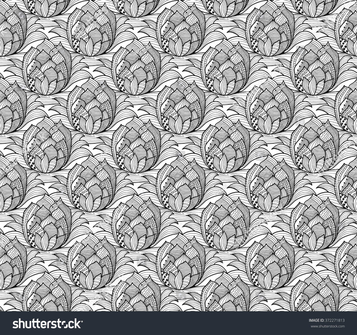 Doodle Seamless Background Vector Doodles Flowers Stock Vector